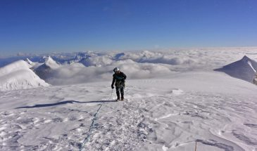 On the summit of Huascaran Sur, Cordillera Blanca, Peru