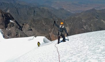 Climbers hiking up the snow slopes of Pumahuanca