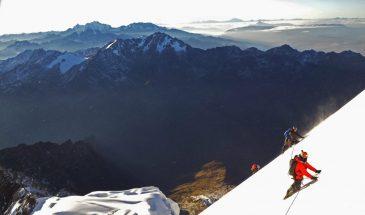 Climbing Veronica at dawn, above the Urubamba range